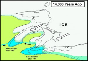 The Great Lakes basin is still bouncing back from the weight of glaceirs that dug out the lakes. Click for 10,000 years of history.  Illustration: Army Corps of Engineers, Detroit District