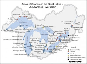Forty-three Great Lakes toxic hot spots were identified by the U.S. and Canada as Areas of Concern. Click for EPA Web site.