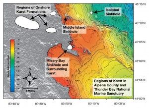 Map of submerged sinkholes (including the study sites - Misery Bay containing the El Cajon Bay Blue Hole, Middle Island Sinkhole and Isolated Sinkhole) in the Thunder Bay National Marine Sanctuary (TBNMS), Lake Huron. Image courtesy of Thunder Bay Sinkholes 2008, NOAA, OceanExplorer.noaa.gov