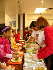 Farm-to-school programs give schools the chance to offer fresh fruits and vegetables for lunch. Photo courtesy of the Urban & Environmental Policy Institute at Occidental College, a partner of the Farm-to-School Network.