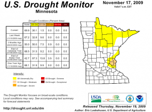 The yellow area of the map indicates drought conditions. Click to enlarge. Courtesy: U.S. Drought Monitor