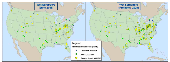 United States Environmental Protection Agency officials expect more than 60 percent of energy generated by coal-fired power plants have devices that limit air pollution called scrubbers. Map: EPA.