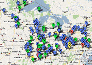 Click to find power plants in your area and see who's polluting. Map: Great Lakes Echo