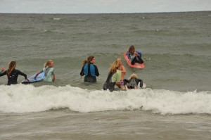 The Surfrider Foundation's Lake Michigan Chapter teaches kids how to surf during a surf clinic on International Surfing Day 2009.