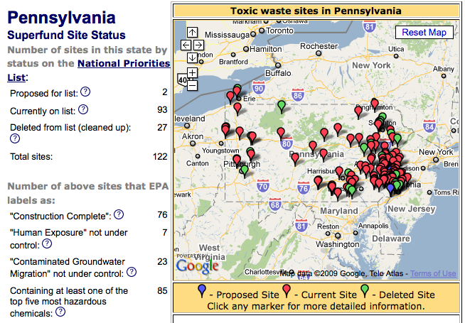 PA Superfund site map