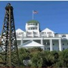 This fake image of an oi rig in front of Mackinac Island's Grand Hotel appears in a Democractic Party video.