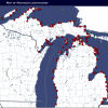 A map of Michigan lighthouses shows locations, photos and more information of the historic structures.