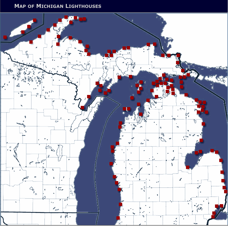 Lighthouses In Michigan Map Images