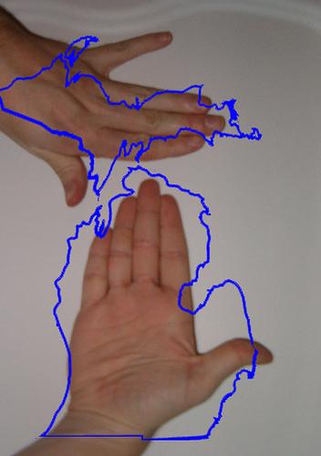 MONDAY MASHUP The Michigan Hand Map  Great Lakes Echo