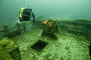 This wreck site is the two-masted schooner F.T. Barney, which was built in 1850 and sank in 1874, and lies approximately four miles off Rogers City
