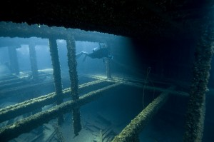 The hold of the Grecian shipwreck. Photo: NOAA/Thunder Bay Marine Sanctuary.