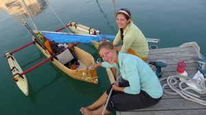 Catterlin and Lukas working on the rudder in Kenosha, Wis. Photo: Lake Michigan in a Dugout