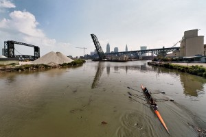 A photograph by Schacter of the Cuyahoga River in Cleveland, Ohio reflects his dual interest in nature and industry, both of which are intrinsic to the history of the Great Lakes.