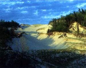 Parabolic dunes, as commonly seen along Michigan&#039;s west coast. Photo: MI.gov.