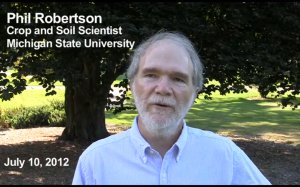 Professor Phil Robertson discusses crops and climate change in a recent video. Screenshot from Yale Forum on Climate Change and the Media.