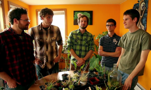 From left, Lookin' at It crew Steve Fleck, Jason Mazurowski and Matt Candeias talk with Ryan and Kenny of the western New York carnivorous plant club.