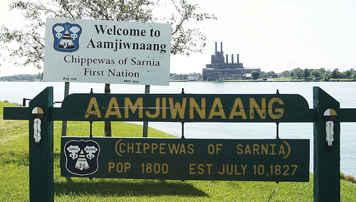 The Anishinaabe people from Aamjiwnaang First Nation are surrounded by heavy industry. Photo: Environmental Health News