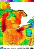 Great Lakes wind conditions projected for 2 p.m. Tuesday. Image: National Oceanic Atmospheric Administration