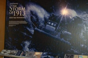 A Storm of 1913 graphic at Cranbrook's Deep Sea: Mission to the Abyss Exhibit. (Photo courtesy of the Port Huron Times Herald)