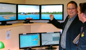 "The Georgian College ""Bridge"" marine simulator showing the entrance to the Port of Goderich Harbour. (Photo courtesy of Mac Campbell)"