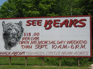 A sign for Oswald Bear Ranch in Newberry, Mich. Photo: All Things Michigan (flickr)
