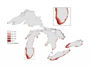 A map of the Great Lakes showing levels of light pollution across the region, with the highest concentrations near Chicago, Ill., Cleveland, Ohio and Toronto, Ontario. Great Lakes Environmental Assessment and Mapping project image.