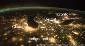 The cities of the Great Lakes light up the night sky. The same city lights that illuminate our streets may also have unintended environmental costs, according to recent research. NASA photo.