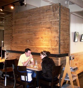 Rocky Levy of Icon Modern used wood from the Globe Elevator in a Starbucks in Chicago, Illinois. Photo by Judy Peres.