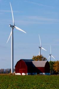 Wind turbines at DTE Energy's Thumb Wind Park in Huron County, Mich., completed in December. Photo by DTE.