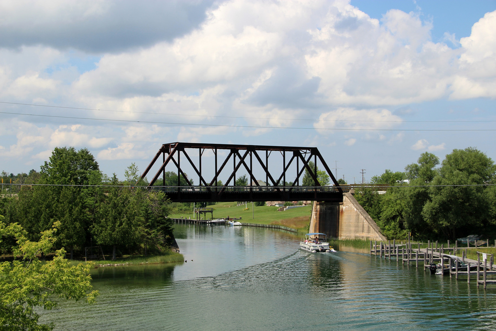 Railroad bridge over the Cheboygan river built in 1904, a highlight of the Michigan trailway network.