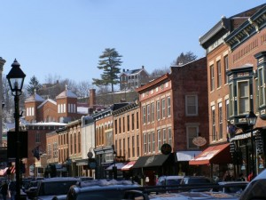 Former mining town Galena, Ill. was chosen for its many historic buildings, including those along its Main Street. Photo by Chris Light via Wikimedia Commons.