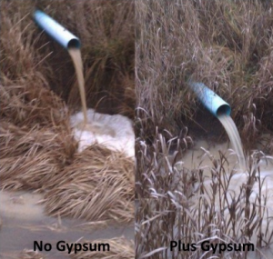 water runoff, using  gypsum