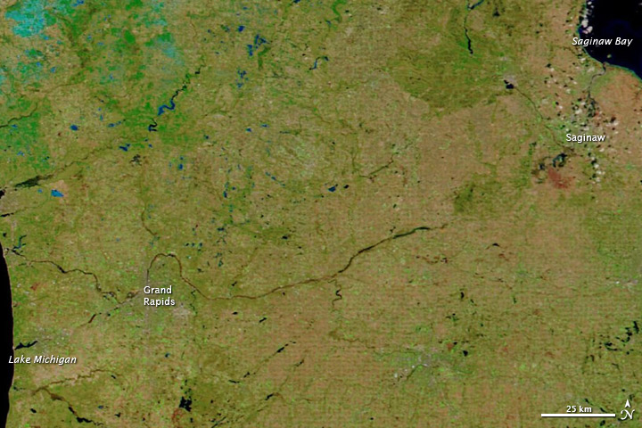 Pre-flood conditions along the Saginaw and Grand rivers on April 5. NASA photo.