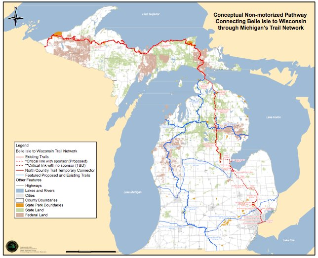 Proposed and existing trails connecting Belle Isle to Wisconsin. Source: Department of Natural Resources