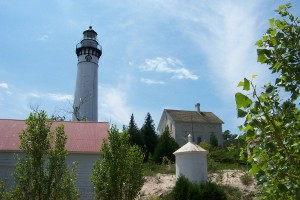 South Manitou Lighthouse overlooks Lake Michigan on the coast of South Manitou Island. National Park Service photo by Kerry Kelly.
