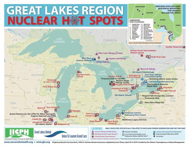Map shows nuclear power facilities in the Great Lakes region