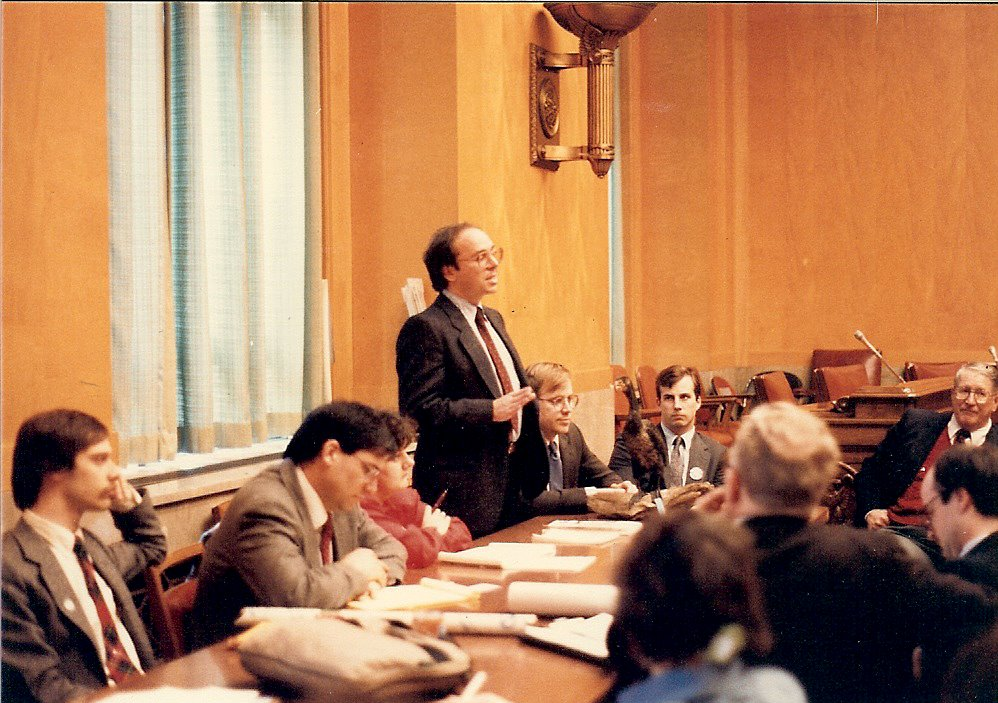 Great Lakes United member John Jackson, standing, testifies at a Congressional briefing  on bioaccumulative toxic compounds in the Great Lakes in 1988.