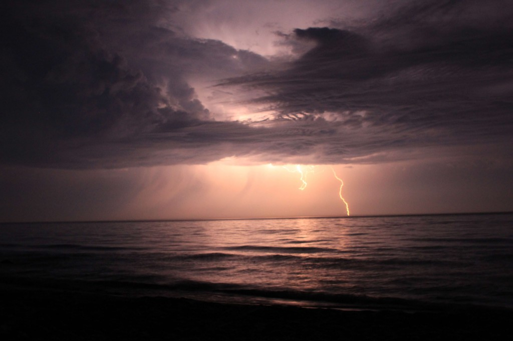 Collin Barlage captured this dramatic lightening image during a summer storm over Lake Huron near Harrisville, Mich.