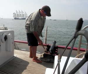 Preparing to send a shot over the bow. Photo: Karen Schaefer