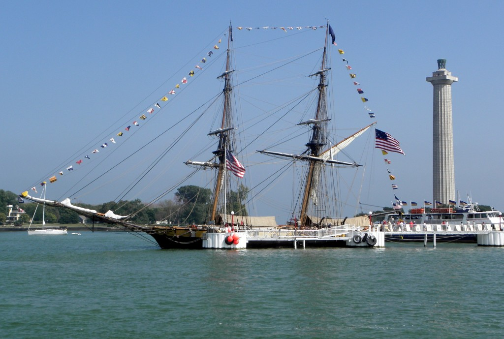 Replica of Perry's flagship Niagara with Perry Monument in background. Photo: Karen Schaefer