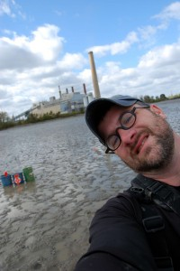 University of Toledo researcher Todd Crail near the Bay Shore power plant where he and colleagues found a healthy population of native mussels. Image: Todd Crail