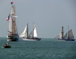 The Windy, and Canadian square-riggers the Pathfinder and  the Playfair. Photo: Karen Schaefer