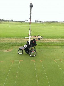 Michigan State University researchers test the ability to determine turf health with an infrared camera mounted on a boom on a jogging stroller before moving forward to purchase a drone. Photo: Bob Goodwin.