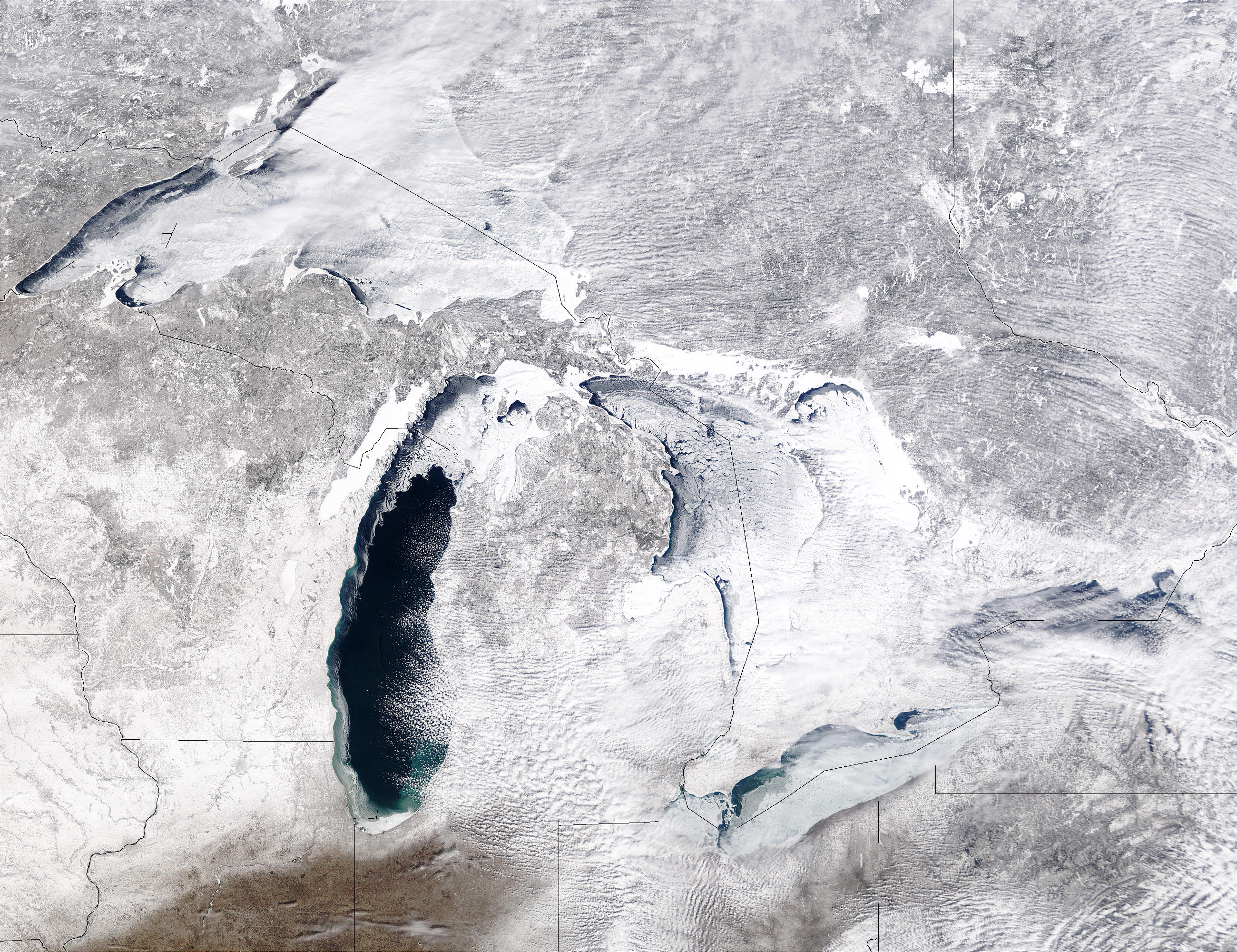 Ice covers the Great Lakes. (Photo: NASA Earth Observatory)