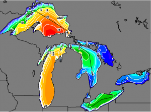 The retrospective simulation of the Great Lakes Storm of 1913 shows wave heights during the peak of the storm. Click on the picture to see it in action. Photo: National Oceanic and Atmospheric Administration