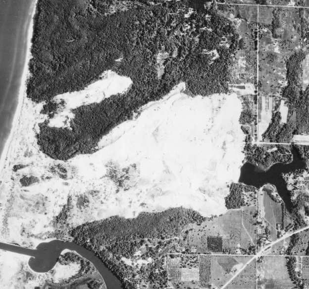 By 1960 you can just barely see the beginnings of trails, evidence that the area has been used for dune buggy rides. Image: MSU Aerial Imagery Archive