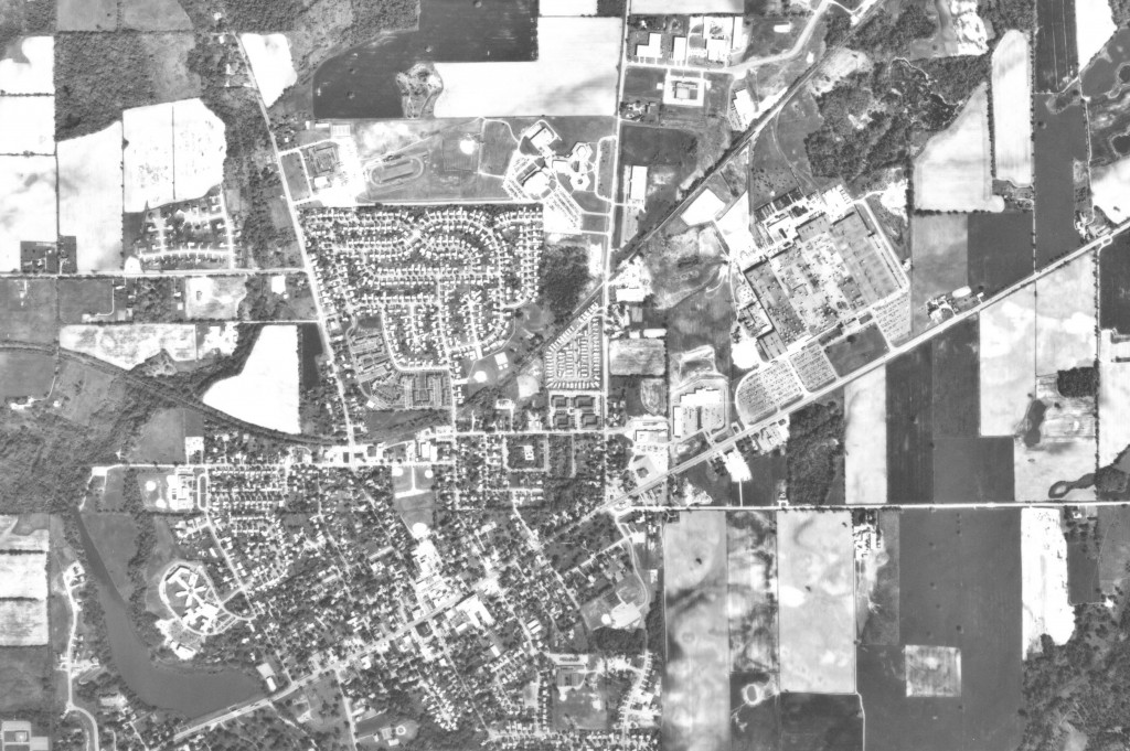 Saline, 1985: The city hasn't grown significantly in seven years, though there is a new industrial park northeast of Saline High School.
