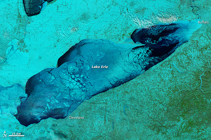 By the end of the bitter cold front that swept through the Midwest, 90% of Lake Erie was covered in ice. (Photo: NASA Earth Observatory)