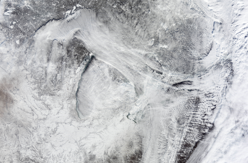 """This week's """"polar vortex"""" affected almost 200 million people and broke countless low temperature records, including an 118-year-old record low in New York City. (NASA Earth Observatory)"""