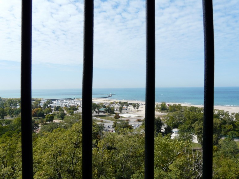 A look through the bars from atop the observation tower. (Photo: Kathleen Stachowski)